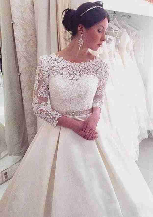 Ball Gown Bateau 3/4 Sleeve Court Train Lace Wedding Dress With Waistband