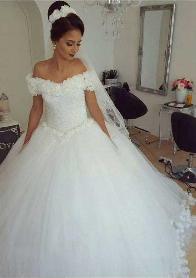 Ball Gown Off-The-Shoulder Sleeveless Court Train Tulle Wedding Dress With Appliqued Beading Flowers