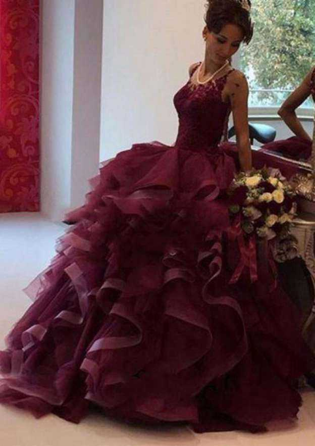 Ball Gown Bateau Sleeveless Sweep Train Organza Wedding Dress With Lace