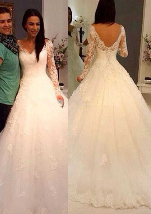 Ball Gown V Neck Full/Long Sleeve Court Train Lace Wedding Dress With Appliqued