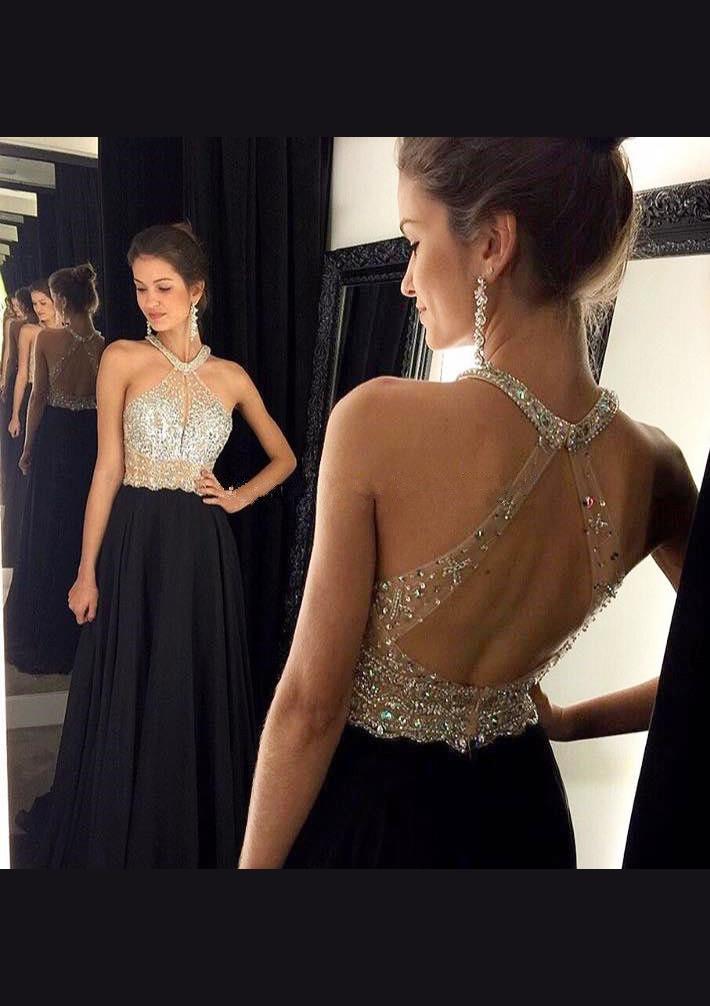 A-Line/Princess Halter Sleeveless Sweep Train Chiffon Prom Dress With Crystal Beading