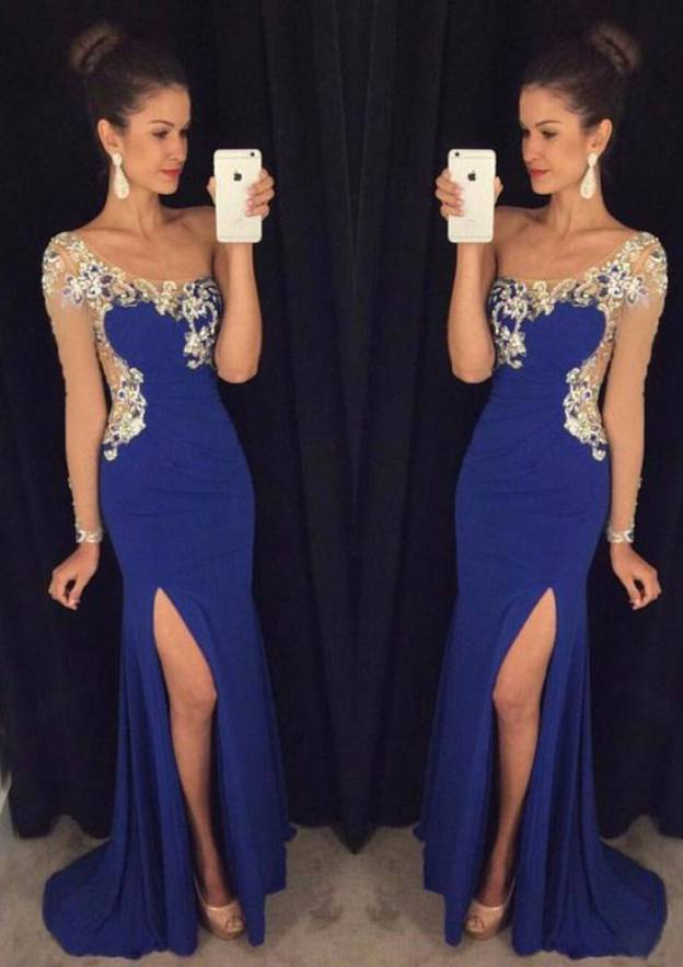 Sheath/Column One-Shoulder Full/Long Sleeve Sweep Train Jersey Prom Dress With Rhinestone Sequins Split