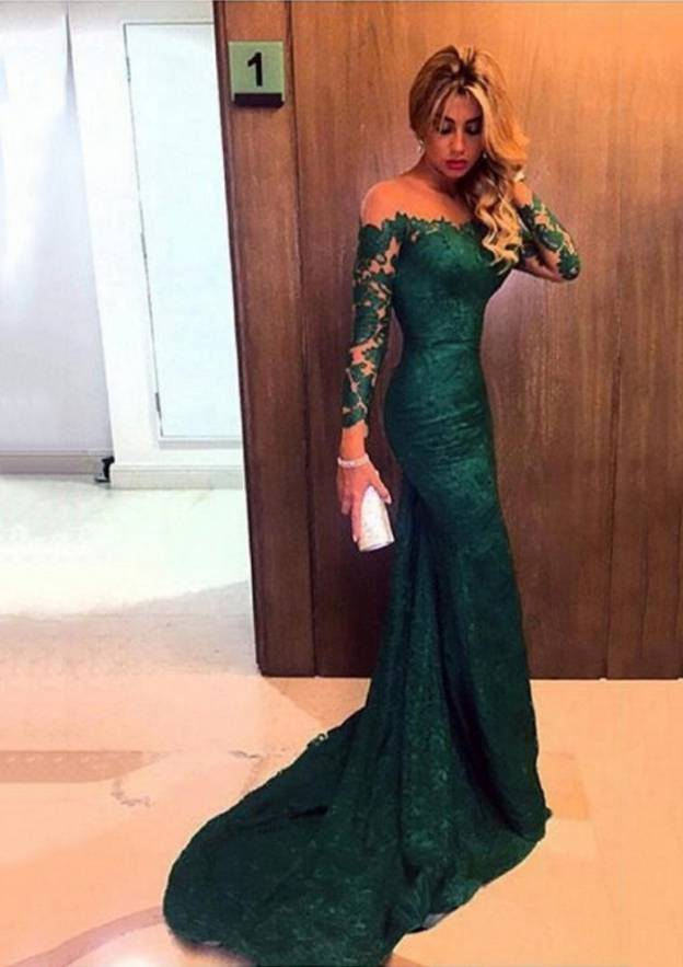 Trumpet/Mermaid Scoop Neck Full/Long Sleeve Court Train Lace Prom Dress With Appliqued