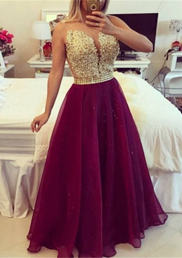 A-Line/Princess Scoop Neck Sleeveless Long/Floor-Length Chiffon Prom Dress With Rhinestone