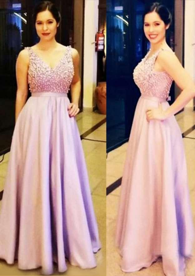 A-Line/Princess V Neck Sleeveless Long/Floor-Length Charmeuse Prom Dress With Beading