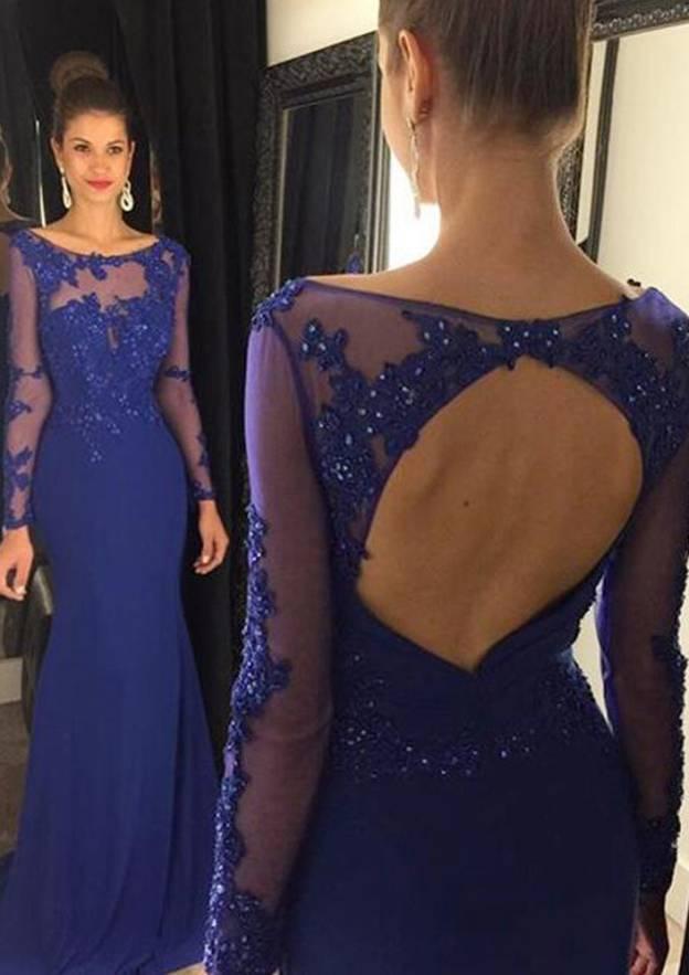 Sheath/Column Bateau Full/Long Sleeve Sweep Train Jersey Prom Dress With Beading Appliqued