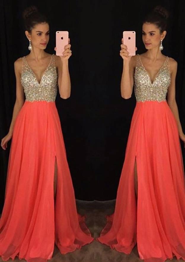 A-Line/Princess V Neck Sleeveless Sweep Train Chiffon Prom Dress With Rhinestone Split