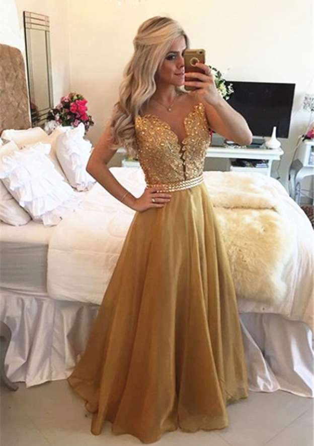 A-Line/Princess Scoop Neck Sleeveless Sweep Train Chiffon Prom Dress With Appliqued
