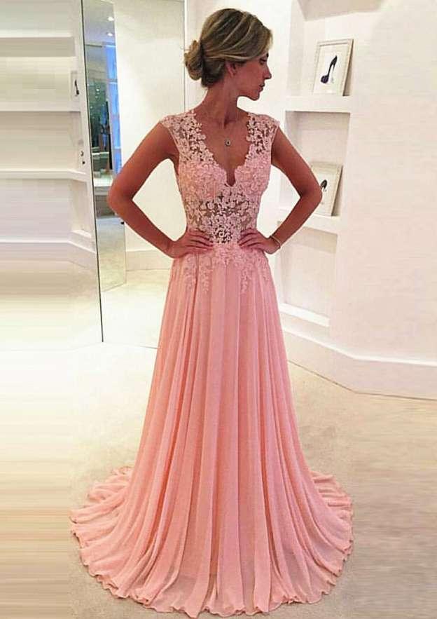A-Line/Princess V Neck Sleeveless Sweep Train Chiffon Prom Dress With Appliqued Lace