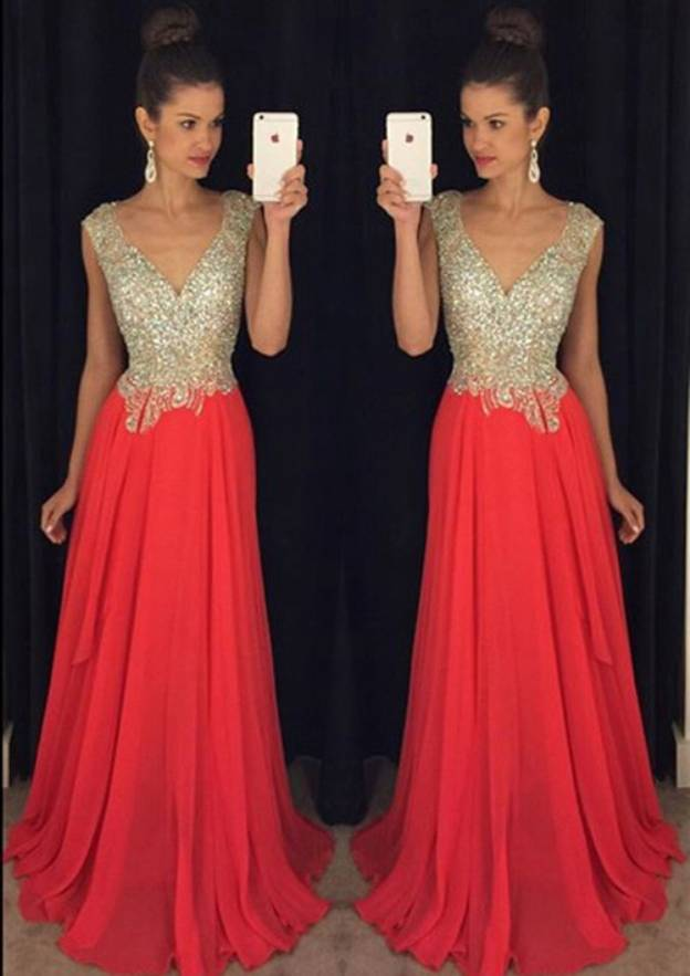 A-Line/Princess V Neck Sleeveless Sweep Train Chiffon Prom Dress With Rhinestone Beading