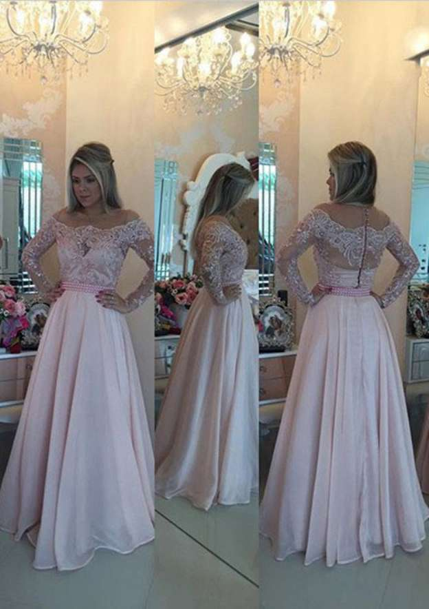 A-Line/Princess Scoop Neck Full/Long Sleeve Long/Floor-Length Chiffon Prom Dress With Appliqued