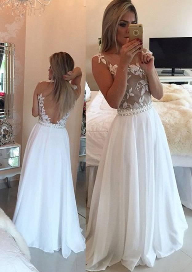 A-Line/Princess Scoop Neck Sleeveless Long/Floor-Length Chiffon Prom Dress With Appliqued Rhinestone