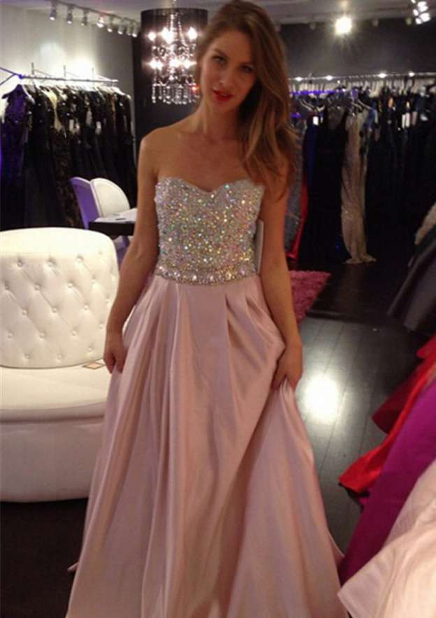 A-Line/Princess Sweetheart Sleeveless Sweep Train Charmeuse Prom Dress With Crystal Detailing Sequins