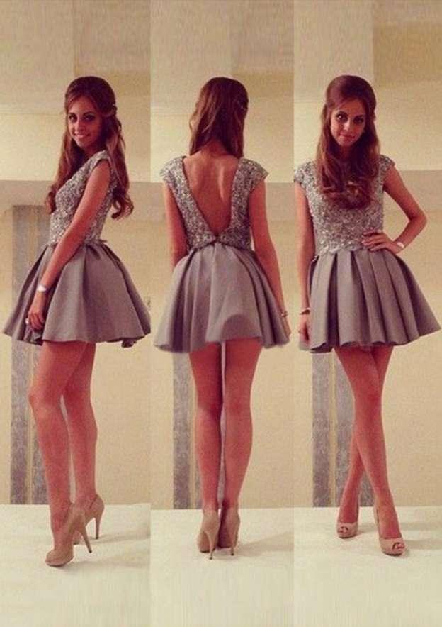 A-Line/Princess Bateau Sleeveless Short/Mini Satin Homecoming Dress With Appliqued Pleated