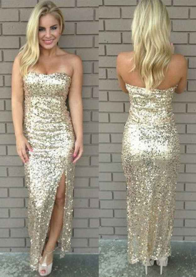 Sheath/Column Sweetheart Sleeveless Long/Floor-Length Sequined Prom Dress With Split