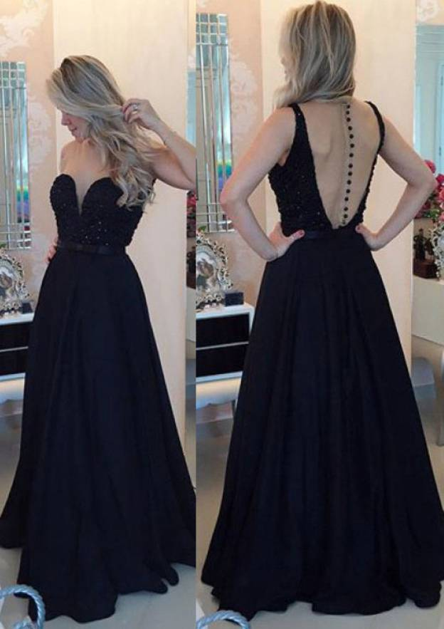 A-Line/Princess Scoop Neck Sleeveless Long/Floor-Length Charmeuse Prom Dress With Appliqued