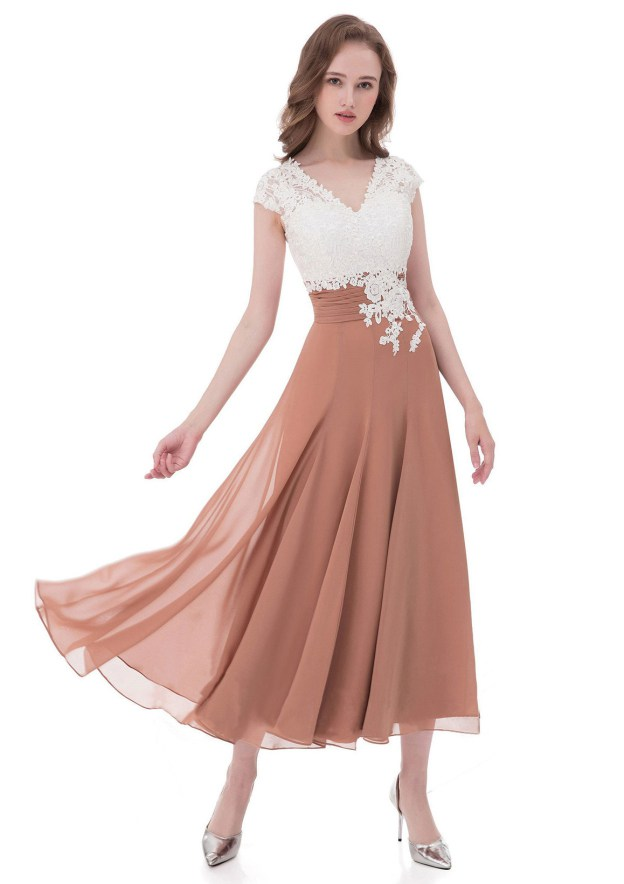 A-Line/Princess V Neck Sleeveless Tea-Length Chiffon Mother Of The Bride Dress With Appliqued