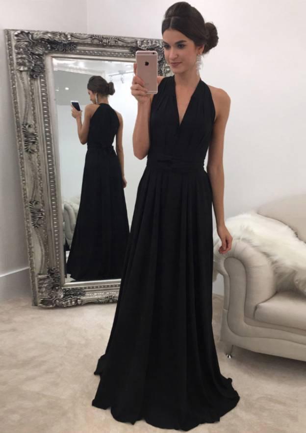 A-Line/Princess V Neck Sleeveless Sweep Train Chiffon Prom Dress With Sashes