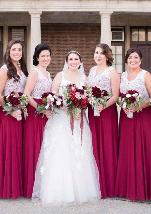 A-Line/Princess V Neck Sleeveless Long/Floor-Length Chiffon Bridesmaid Dress With Lace Waistband
