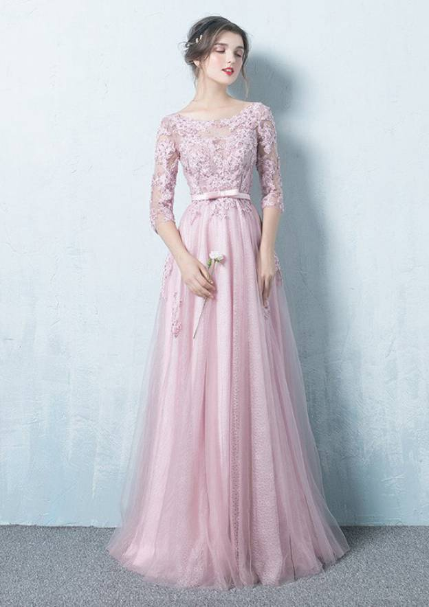 A-Line/Princess Bateau 3/4 Sleeve Long/Floor-Length Tulle Prom Dress With Appliqued