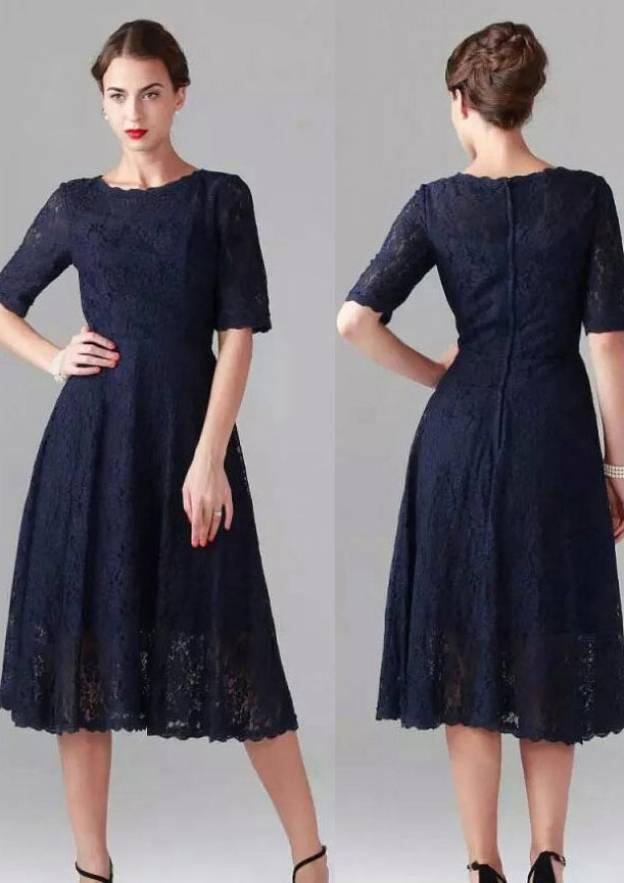 A-Line/Princess Bateau Half Sleeve Tea-Length Lace Mother Of The Bride Dress