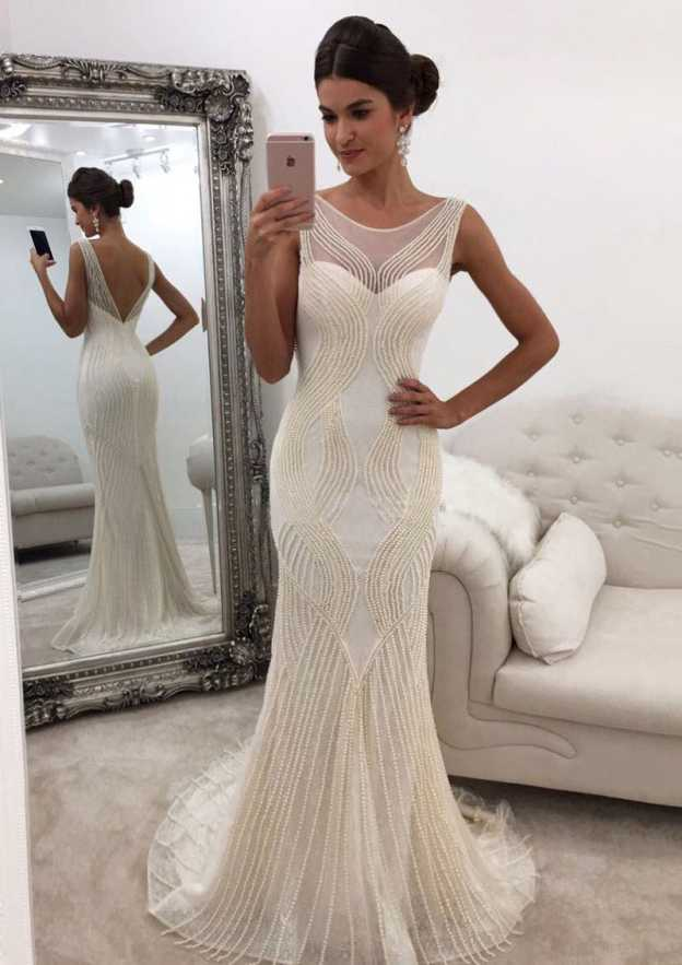 Sheath/Column Scoop Neck Sleeveless Sweep Train Jersey Prom Dress With Beading