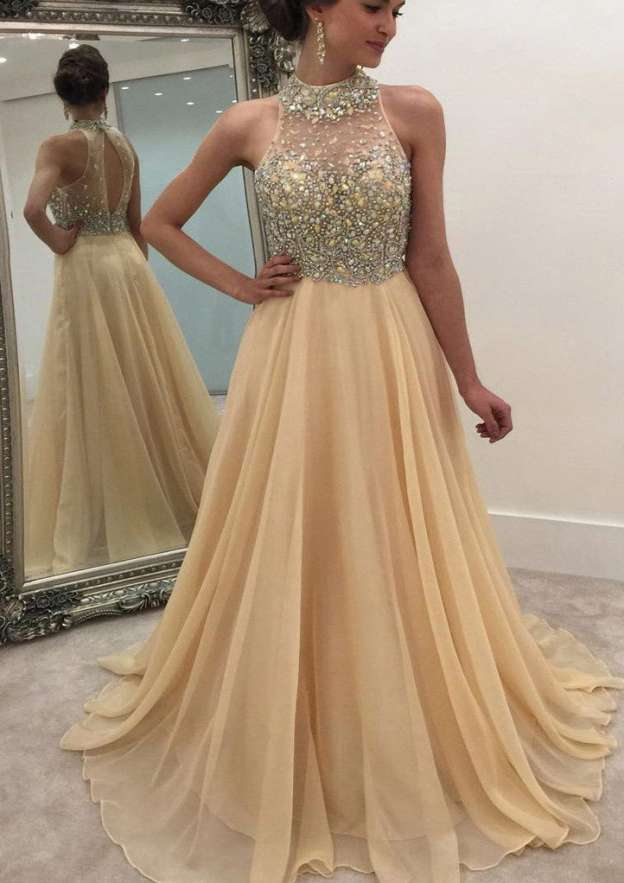A-Line/Princess High-Neck Sleeveless Sweep Train Chiffon Prom Dress With Beading