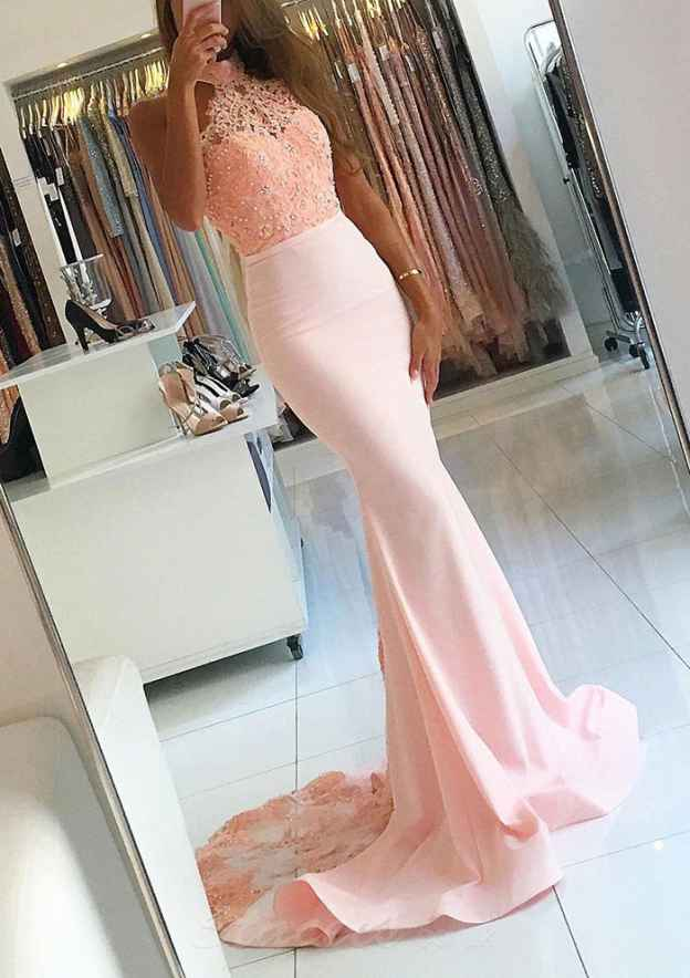 Trumpet/Mermaid Halter Sleeveless Sweep Train Elastic Satin Prom Dress With Appliqued