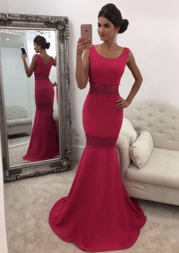 Trumpet/Mermaid Scoop Neck Sleeveless Sweep Train Jersey Prom Dress With Lace