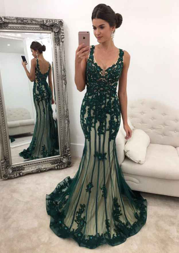 Trumpet/Mermaid V Neck Sleeveless Sweep Train Tulle Prom Dress With Appliqued
