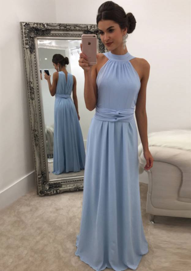 A-Line/Princess Scalloped Neck Sleeveless Long/Floor-Length Chiffon Prom Dress