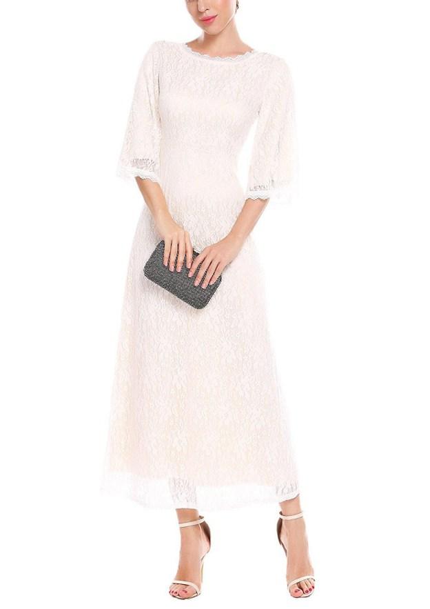 A-Line/Princess Bateau Half Sleeve Ankle-Length Lace Mother Of The Bride Dress