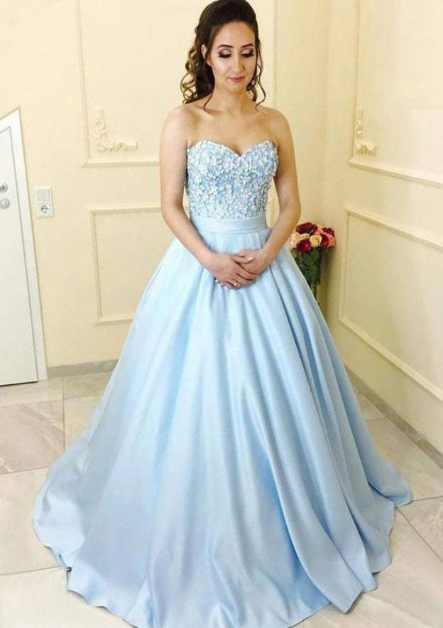 Ball Gown Sweetheart Sleeveless Court Train Satin Prom Dress With Lace