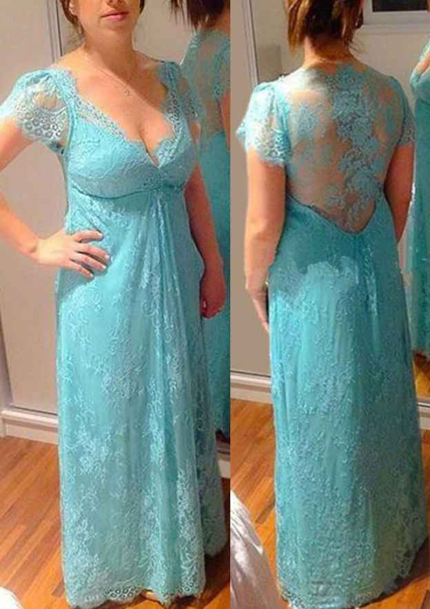 A-Line/Princess Short Sleeve Long/Floor-Length Lace Yarn Sleeves Illusion & Sheer Prom Dress