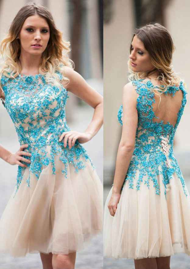 A-Line/Princess Bateau Sleeveless Knee-Length Tulle Prom Dress With Appliqued