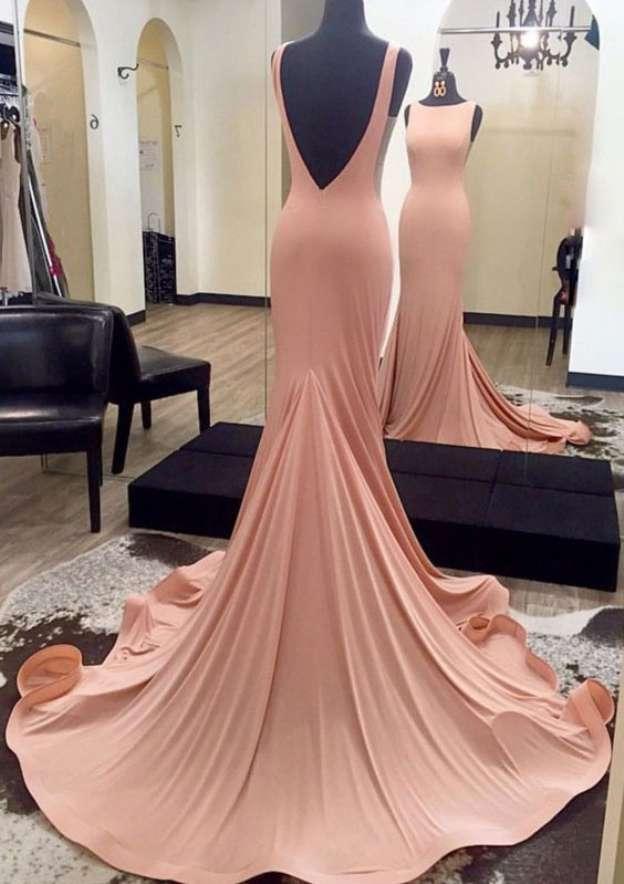 Trumpet/Mermaid Bateau Sleeveless Court Train Jersey Prom Dress With Ruffles