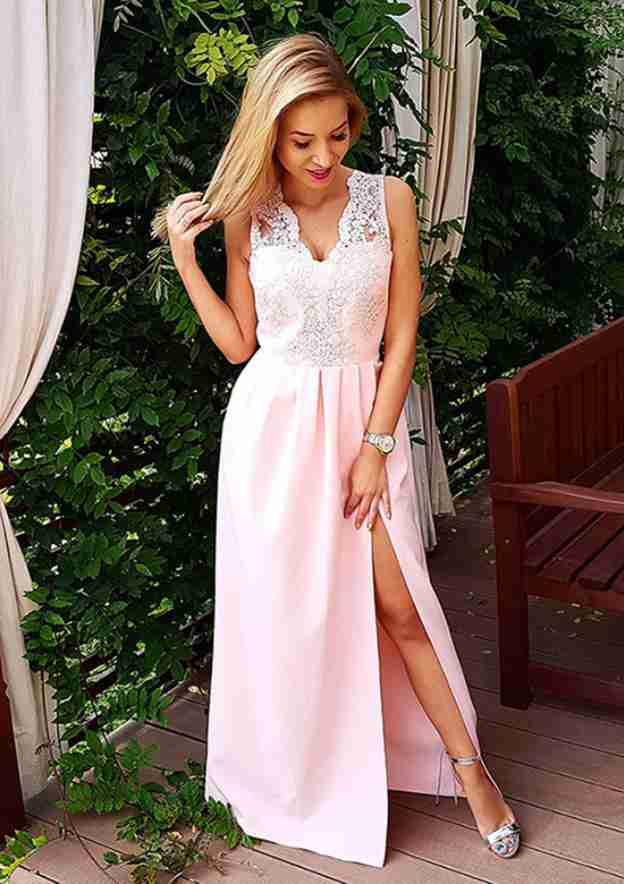 A-Line/Princess V Neck Sleeveless Long/Floor-Length Elastic Satin Prom Dress With Split Lace