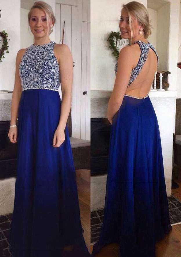 A-Line/Princess Scoop Neck Sleeveless Sweep Train Chiffon Prom Dress With Crystal Detailing Beading