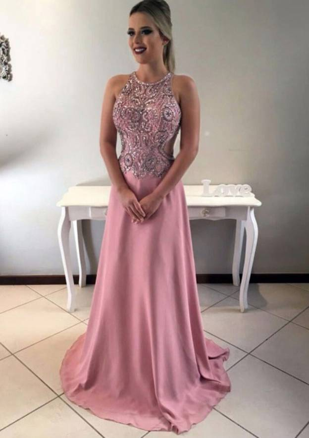 A-Line/Princess Scoop Neck Sleeveless Sweep Train Chiffon Prom Dress With Crystal Detailing Appliqued