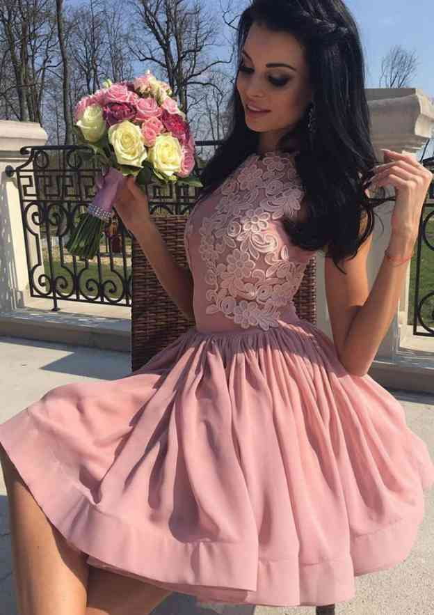 Ball Gown Scalloped Neck Sleeveless Short/Mini Chiffon Prom Dress With Appliqued