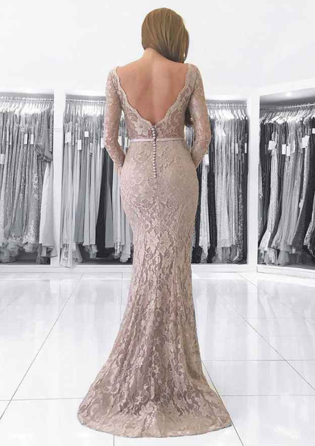 Trumpet/Mermaid V Neck Full/Long Sleeve Sweep Train Lace Prom Dress