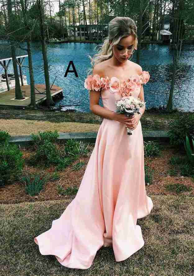 A-Line/Princess Off-The-Shoulder Sleeveless Court Train Satin Prom Dress With Flowers