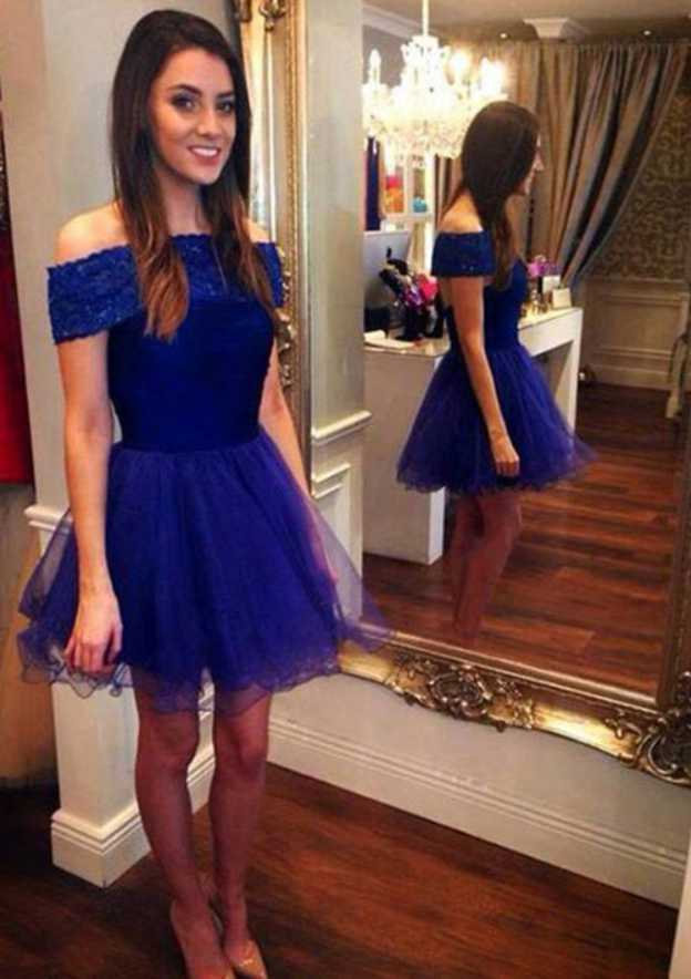 A-Line/Princess Off-The-Shoulder Sleeveless Short/Mini Chiffon Homecoming Dress With Appliqued