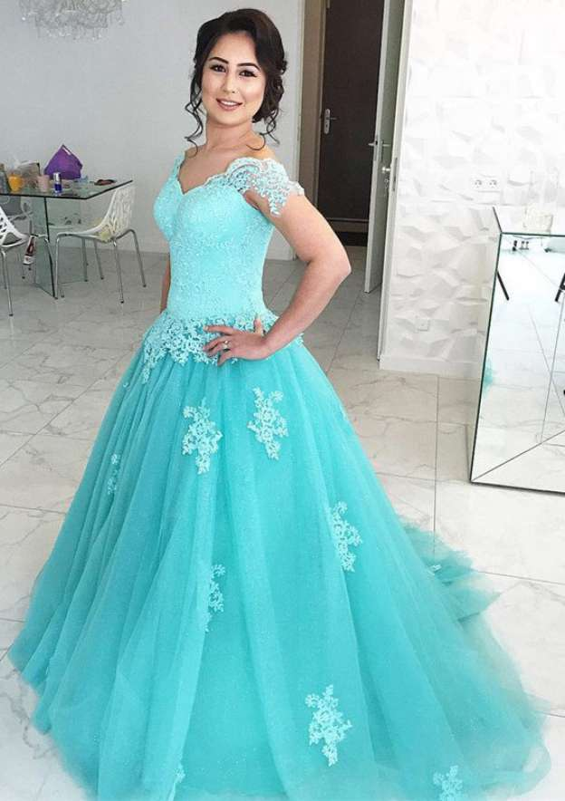 Ball Gown Off-The-Shoulder Sleeveless Sweep Train Tulle Prom Dress With Appliqued Lace