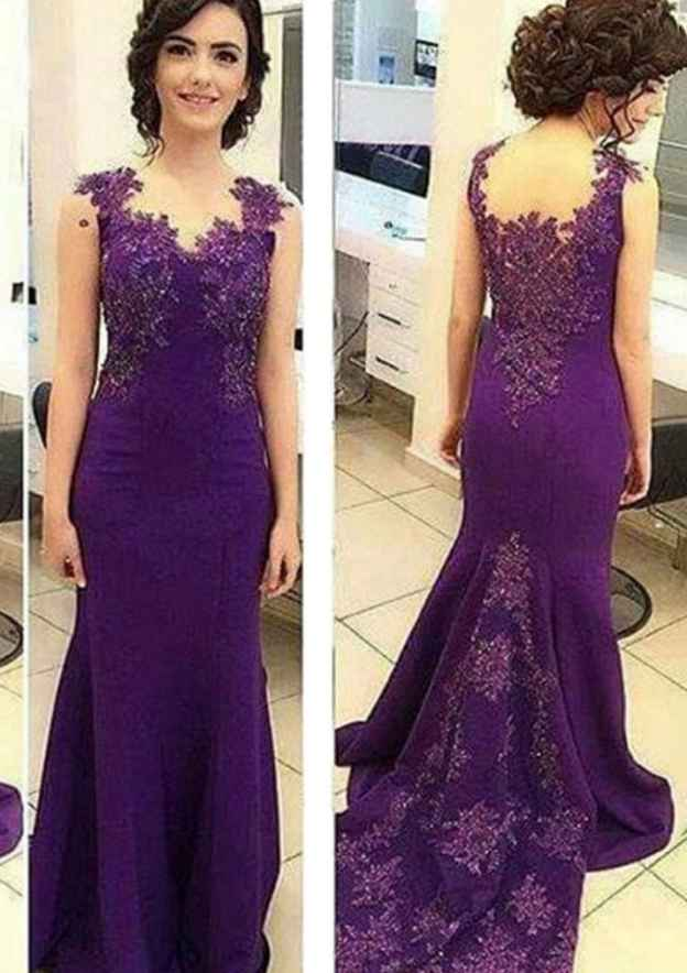 Trumpet/Mermaid V Neck Sleeveless Sweep Train Jersey Prom Dress With Appliqued