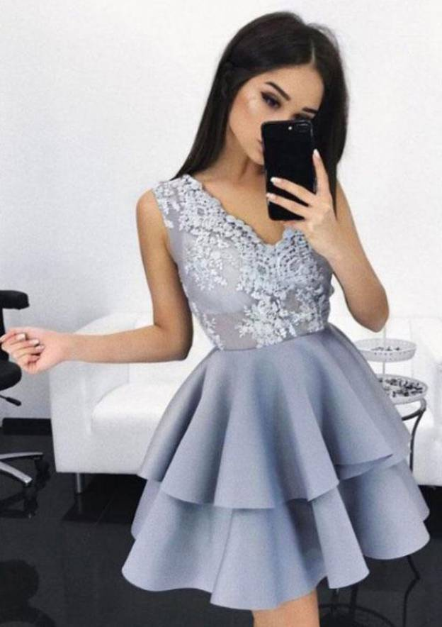 A-Line/Princess V Neck Sleeveless Short/Mini Elastic Satin Homecoming Dress With Appliqued Ruffles