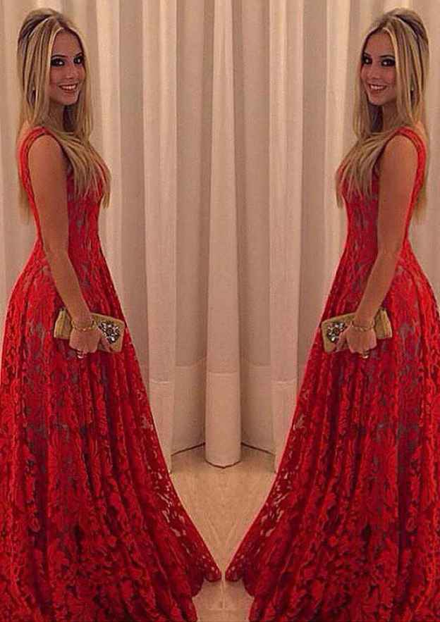 A-Line/Princess V Neck Sleeveless Long/Floor-Length Lace Prom Dress