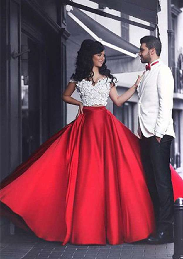 Ball Gown Off-The-Shoulder Sleeveless Cathedral Train Charmeuse Prom Dress With Appliqued