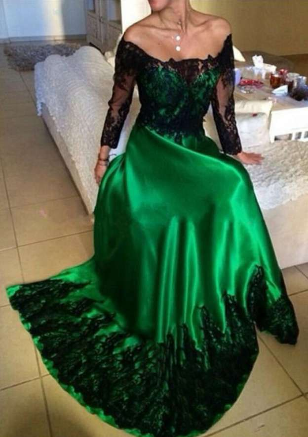 A-Line/Princess Off-The-Shoulder Full/Long Sleeve Sweep Train Charmeuse Prom Dress With Appliqued Lace