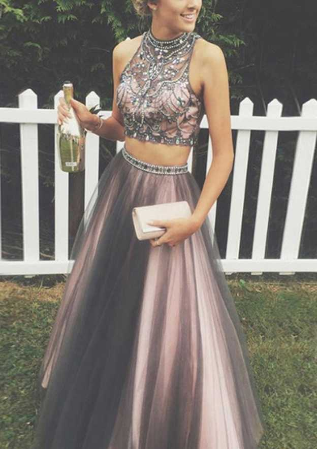 A-Line/Princess High-Neck Sleeveless Long/Floor-Length Tulle Prom Dress With Crystal Detailing Beading